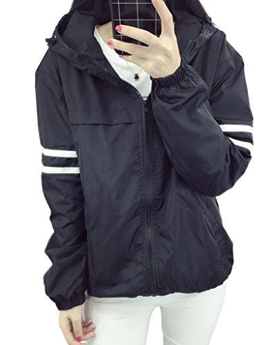 Minetom Femme été Manches Longues Fermeture éclair Blouson à Capuche Coupe-vent Outwear Loose Coats Manteau Couple Jackets Noir