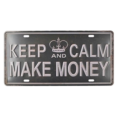 Keep Calm and Make Money Vintage Home, Bad und Bar Wand Decor Auto Vehicle License Plate Tag - Zinn Bad Bar