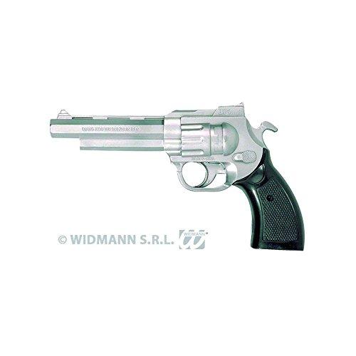 Gangster Pistole silber-schwarz 18cm Einheitsgröße
