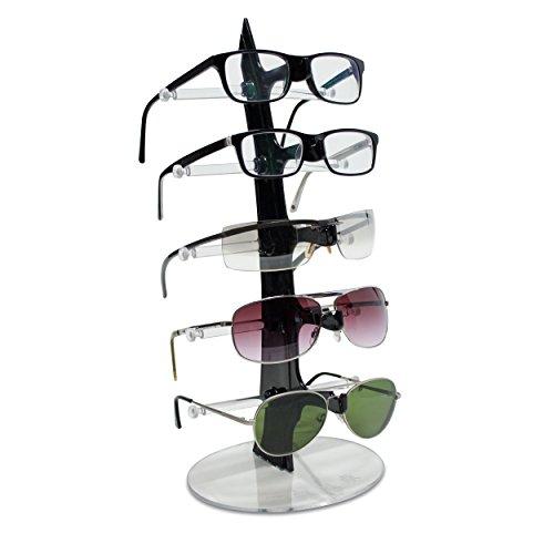 Brillenständer für 5 Brillen - Schwarz 35 x 16 x 16 cm - Brillenhalter zur Aufbewahrung und Präsentation - Grinscard
