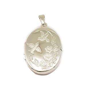 ASS 925 Silber Medaillon Anhänger, oval mit Motiv Blüten-Blätter-Vögel zum Öffnen,22mm, rhodiniert