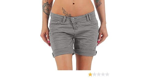 Elecenty Pantaloni Larghi A Gamba Larga Estivi Donna Moda Vita Alta Risvolto Jeans Shorts Brevi Hot Pants