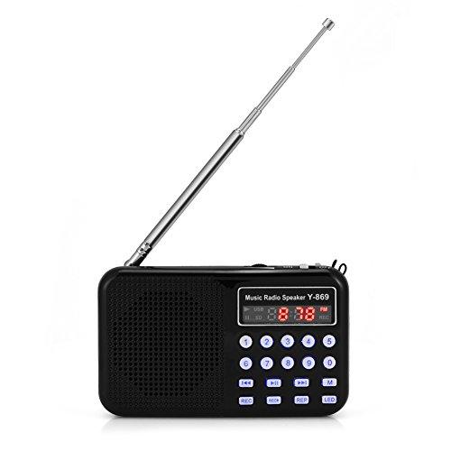 Richer-R Mini Radio FM/Altavoz Portátil con Linterna LED,Reproductor Música Audio para Pasear...
