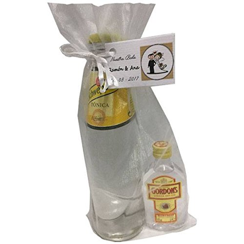 Pack de ginebra Gordon's con tónica Schweppes en bolsa de organza para invitados (Pack 24 ud)
