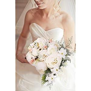 U'Artlines Ramo de boda para dama de honor, romántico, peonía, para boda, fiesta, decoración del hogar (C Bouquet blanco…