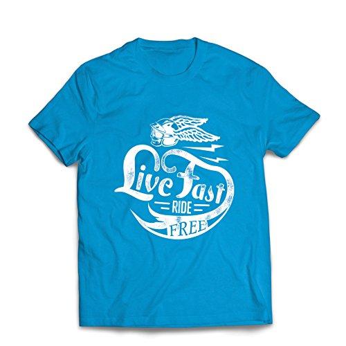 Männer T-Shirt Live Fast Die Free - Klassische Bikers Kleidung, Motorradausrüstung, Motorrad Sprüche (XX-Large Blau Mehrfarben)