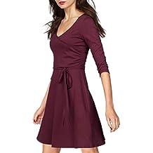 745ef508810d4b ELFIN Damen Kleid Elegant Wickelkleid Punkte Druck Cocktailkleid Freitzeit  Partykleid mit 3/4 Arm Knielang