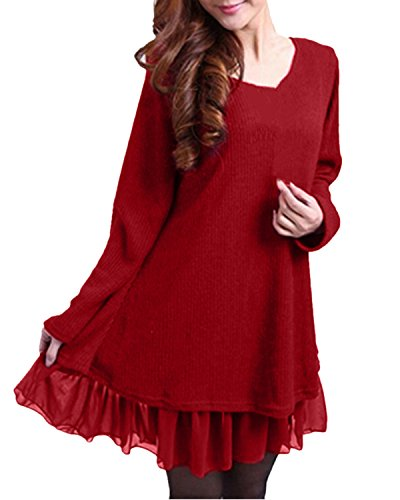 Zanzea Femme Sweater Tricot Lâce Manche Longue Haut Pull Mini-Robe Cardigan Sweats, Rouge, EU 52/ US 22W UK 24