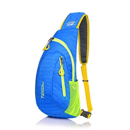 Umhängetasche Brust Schulter Multi-funktionale Sporttasche Dreieck Tasche Stickerei Wasserdichte Nylon für Frauen oder Männer zum Laufen Wandern Camping Reisen (blau)