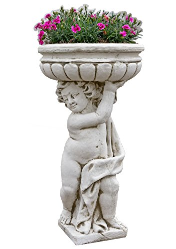Gartenfigur Steinfigur Pflanzschale Pflanzkübel Steinkübel Terrassenmöbel H:93cm