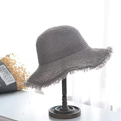 e Fan Hat Männer und Frauen Koreanische Version der Flut Maobian Basin Hut Fischer Hut Literarische Fan Stricken atmungsaktiv Visier Hut, grau ()