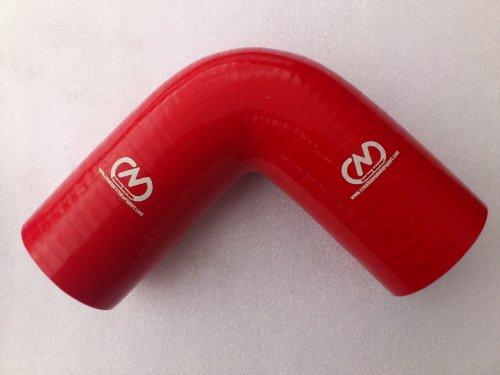 90gradi silicone gomito a gomito tubo in gomma liquido radiatore Intercooler 57mm, colore: rosso