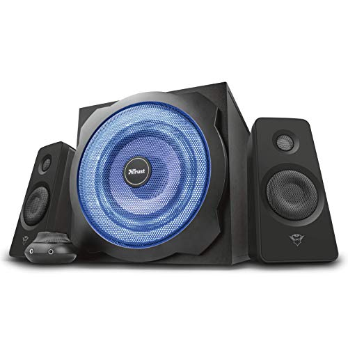 Trust GXT 628 2.1 Lautsprechersystem mit Subwoofer und LED-Beleuchtung, 120 Watt, schwarz (Bass Subwoofer 8 Power)