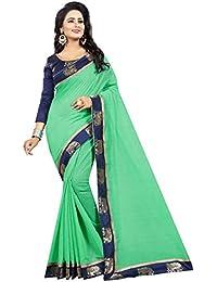 Vastrang Women's Chanderi Cotton Saree With Blouse Piece(1311HATGRN_Green_Free Size)