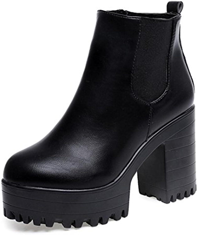 Botines para Mujer, K-Youth® 10cm Botas de Plataformas de Cuero Botines Moda para Mujeres Tacón Cuadrado -