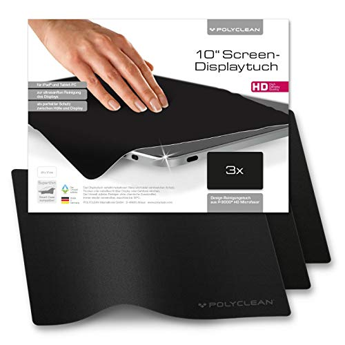 POLYCLEAN 3x Displaytuch - Reinigungstuch für Tablet, Notebooks & Laptops - Schutztuch für Bildschirm, Tastatur & Monitor (10 Zoll, Schwarz, 3 Stück)