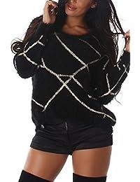 Damen Pullover, innen wie außen angnehem weich mit extravagantem Muster, flauschig dank längerer Fäden, Fransen, Oversize