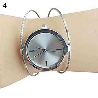 FEIDA Wrist Watches Lady Vintage Round Dial Hollow Quartz Bangle Wrist Watch Engagement Jewelry Gift - Silver