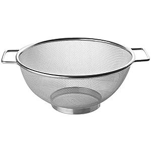 Fackelmann Sieb Ø 20 cm, Küchensieb aus Edelstahl, feinmaschiger Seiher mit 2 Griffen (Farbe: Silber), Menge: 1 Stück