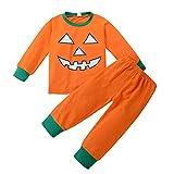Riou Kinder Langarm Halloween Kostüm Top Set Baby Kleidung Set Kleinkind Baby Jungen Mädchen Kürbis Teufel t-Shirt Tops + Hosen Halloween Outfits Set (130, Orange)