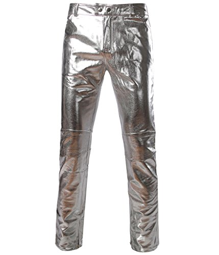 Choose Men's Metallic Abstrahlend Schlanke Hosen XXL Silbern