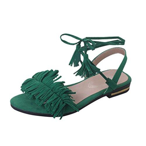 Witsaye Sandali da Donna da Estate PU Cuoio Sandali Bohemia Bassi Infradito Spiaggia di Estate Peep Toe Scarpe (35, verde)