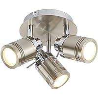 Laeto Lighting - Lámpara de techo para baño (compatible con LED de color plateado satinado, IP44, 3 GU10)