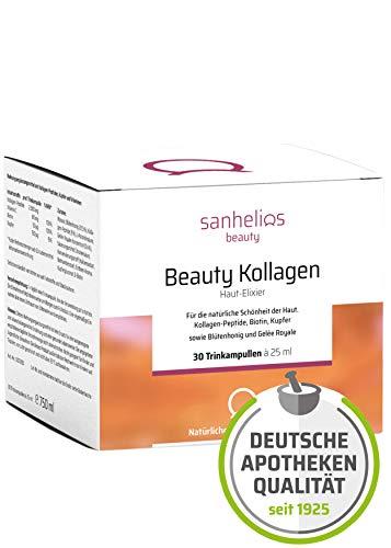 Sanhelios® Beauty Kollagen | Anti-Aging von Innen in Apothekenqualität | 30 Stück | 2500mg Kollagen, Biotin, Kupfer & Vitamin C | Mit Blütenhonig & Gelée Royale -