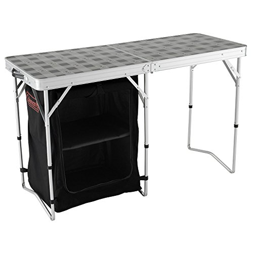 41PlI9V g0L. SS500  - Coleman Folding 2-in-1 Camping Table and Storage - Grey/Black, 122 x 48 x 74 cm