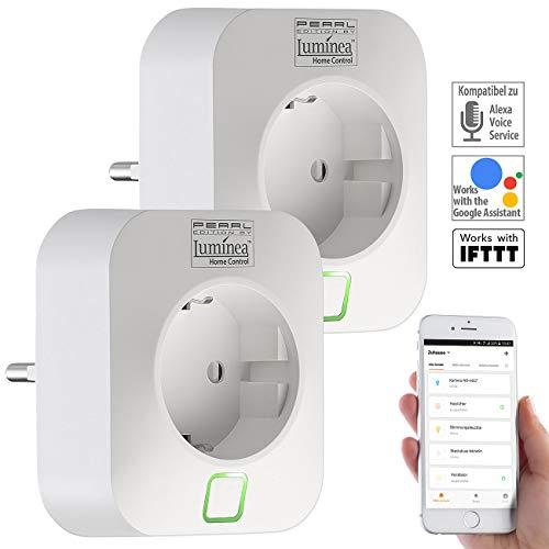 Luminea Home Control WiFi Stecker: 2er-Set WLAN-Steckdosen, Amazon Alexa & Google Assistant komp, 16 A (WiFi Steckdosen)