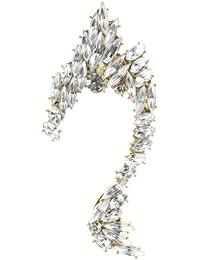 Chic coffre d'oreille de ton or inspiré d'un cygne, couvert de pierres de Strass au coupé Marquise