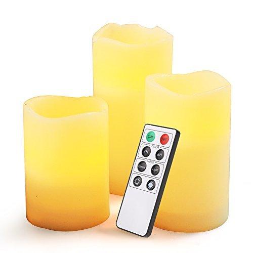 xkttsueercrr Flammenlose Kerze, batteriebetrieben, geruchloses Bernstein gelb Flamme & Ivory farbigen Wachs Stumpenkerze für Dekoration + Timer-Fernbedienung Controller-3Pack (10,2cm 12,7cm 15,2cm hoch, 7,6cm breit) (Kerzen Flammenlose Geruchlos)