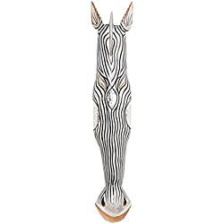 100cm Madera Maske Mascara Careta caratula Esculture Figura Cebra Jirafa Decoracion HM1000016