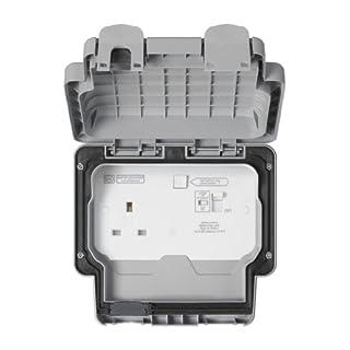 MK Masterseal Plus K56301GRY 13 amp 1-Gang RCD Protected Socket (Active)