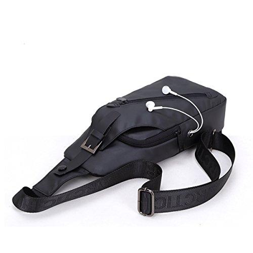 LAIDAYE Art Und Weise Beiläufige Mannschulterbeutel Geschäftspaket Schulterbeutel Kastenbeutel Black