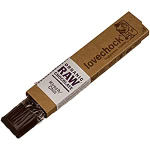 Lovechock - Barretta di cioccolato puro biologico con ciliegie/peperoncino