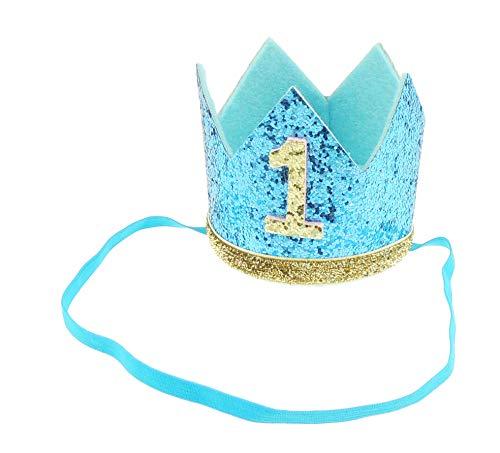Hübsche Krone zum 1. Geburtstag für Jungen und Mädchen, glitzernd, silberfarben/goldfarben -