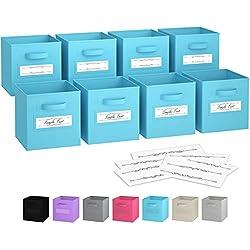 Cubes de rangement - (jeu de 8) Boite De Rangement | Comprend Des Poignées Doubles & 10 Cartes à tiqueter | Bacs De Casier | Organisateur De Placards Pliables En Tissu | Panier Rangement (Bleu)