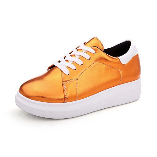AgooLar Damen Rund Zehe Niedriger Absatz Weiches Material Rein Schnüren Pumps Schuhe Orange