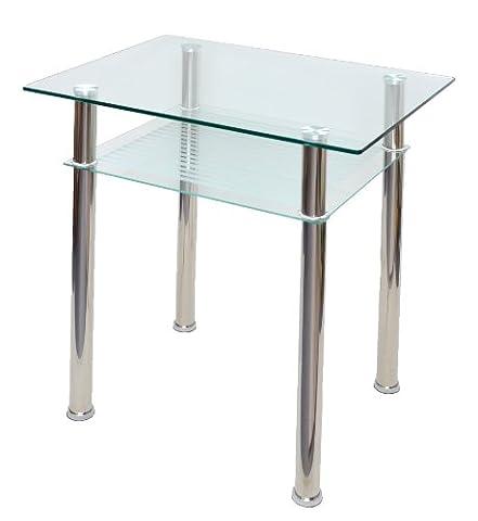 Table en verre Console ordinateur Table d'appoint 80 x 60 cm Verre trempé 10 mm épaisseur