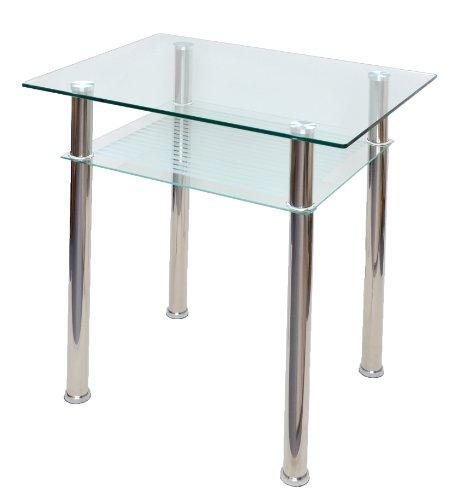 ts-ideen - Mesa de comedor (cristal, 80x60cm, esquinas redondas,