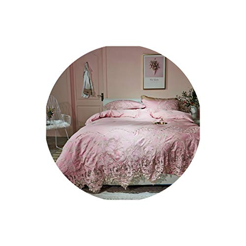 Lovtiful- Lace Bedding Spitze aus ägyptischer Baumwolle Königin King Size Betten Bettset Spannbettuch Bettdecke, Bettwäsche Set 2, Queen-Size-4Pcs, Bettlaken Stil