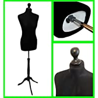 The Shopfitting Shop Size 6-8 BLACK Female Dressmaking Mannequin Dummy & Tailors Bust on Black Tripod Stand