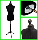 The Shopfitting Shop Taglia 6-8 Colore Nero Donna Prova Abiti Manichino Dummy & da Sarto Bust on Colore Nero Base Tripod