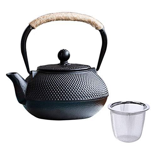HongTeng Edelstahl-Filter-Set für Teekannen aus Gusseisen, schwarzer Hobnail-Designstil, geeignet für Loseblatt-Tee, 900 ml / 30 oz