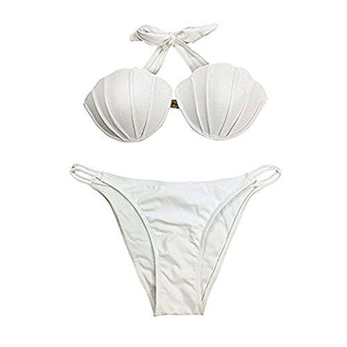 KiKa Monkey Costume da bagno Shell da donna Bikini Mermaid Bianco
