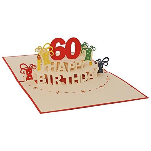 Favour Pop Up Glückwunschkarte zum runden 60. Geburtstag. Ein filigranes Kunstwerk, das sich beim Öffnen des gestalteten roten Umschlags entfaltet. TA60R (12 x 17)