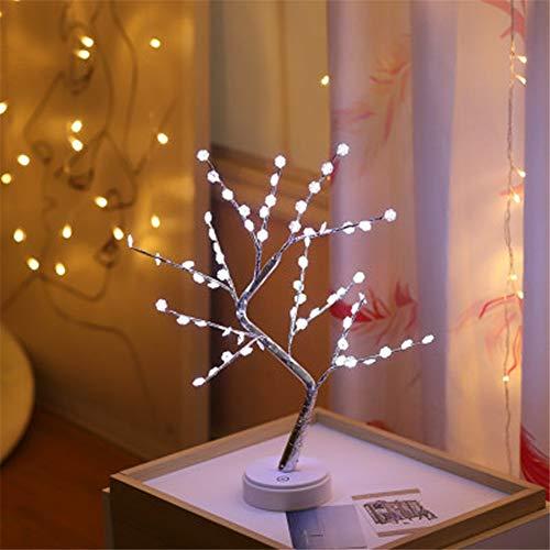 HMLIGHT 60 LED USB-Star/Schnee/Blumen Baum-Nachtlicht Kupferdraht Tischlampe für Partyraum Ferien Fee Dekoration Licht,Whitesnow