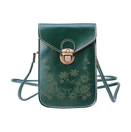 Dairyshop Sacchetto di spalla del mini sacchetto trasversale della borsa del telefono delle cellule della moneta della borsa del raccoglitore delle donne (vino rosso) verde