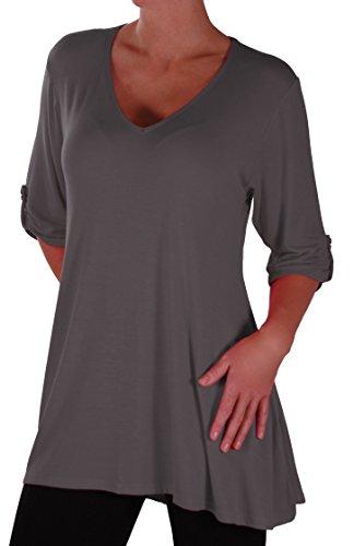 Eyecatch Plus - Shellie Damen V-Ausschnitt Tunika Übergröße Frauen Ausgestelltes Langes Top (V-neck Tunika Bluse)